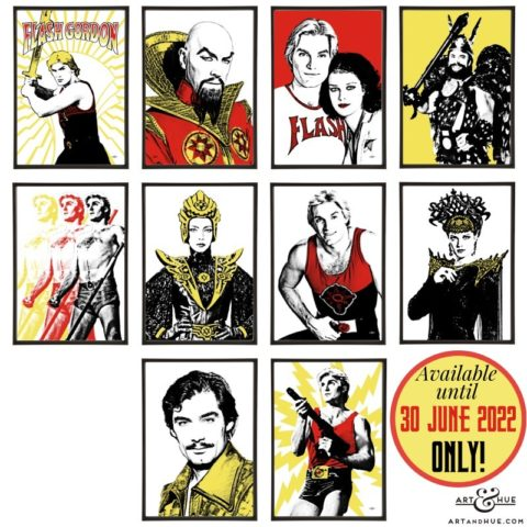 Flash Gordon group of 10 stylish pop art prints by Art & Hue