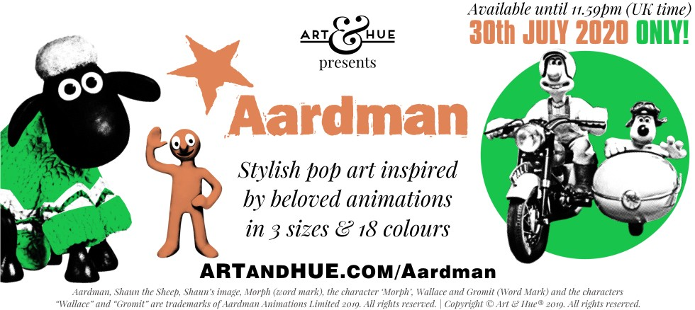 Art & Hue presents Aardman stylish pop art prints