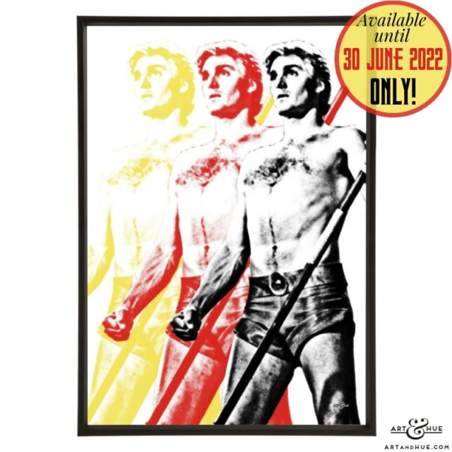 Triple Flash pop art with Sam J Jones as Flash Gordon by Art & Hue