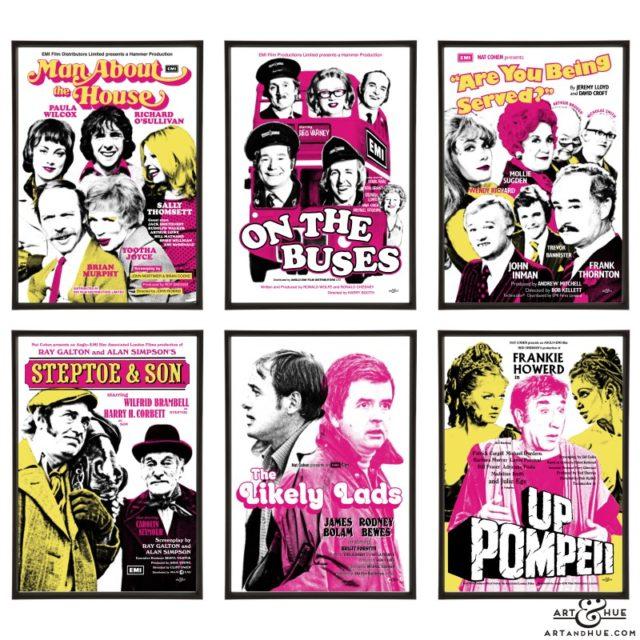 70s sitcoms group of pop art prints by Art & Hue