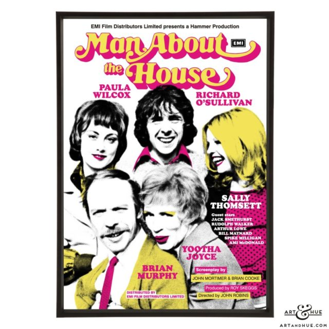 Man About The House film poster stylish pop art prints by Art & Hue