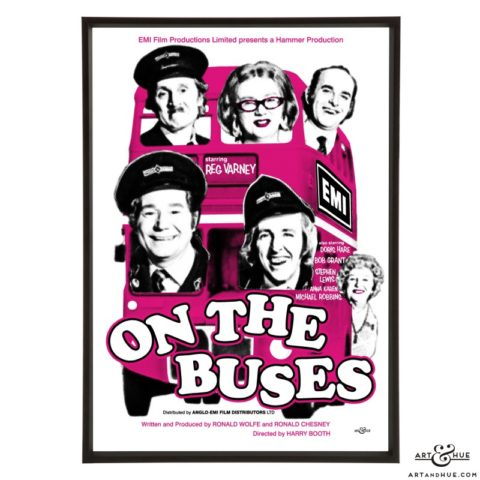 On the Buses film poster stylish pop art print by Art & Hue
