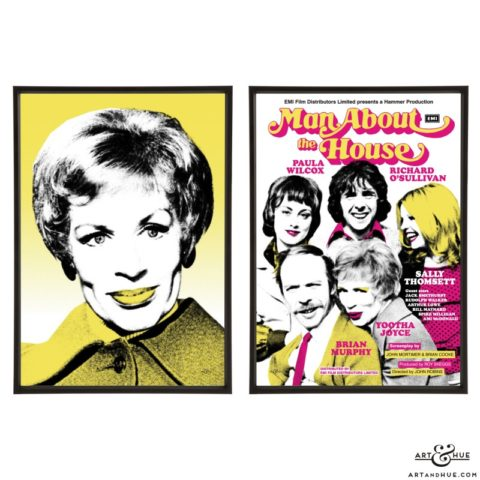Yootha Joyce & Man About The House pair of stylish pop art prints by Art & Hue