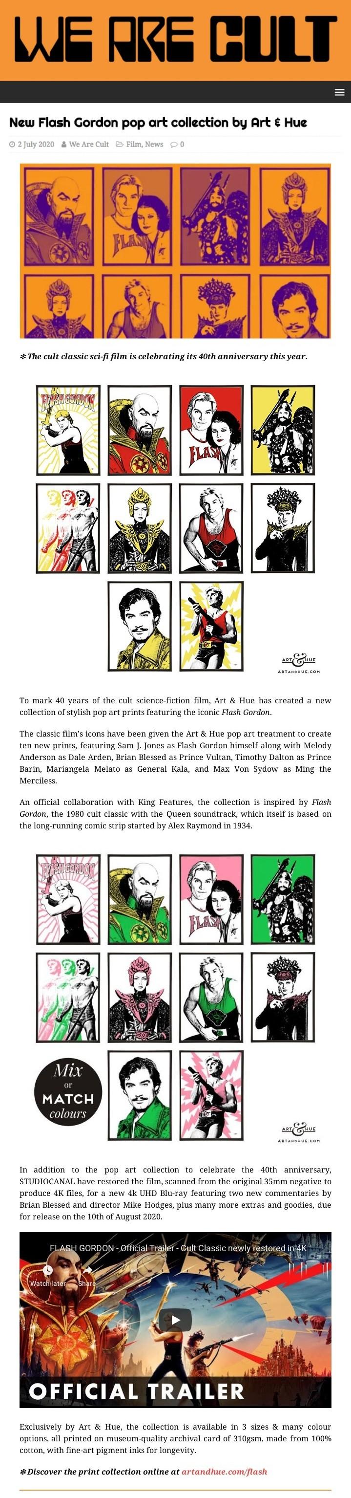 We Are Cult Flash Gordon pop art