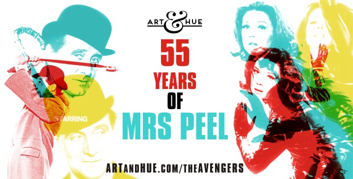 55 years of Mrs Peel pop art prints by Art & Hue