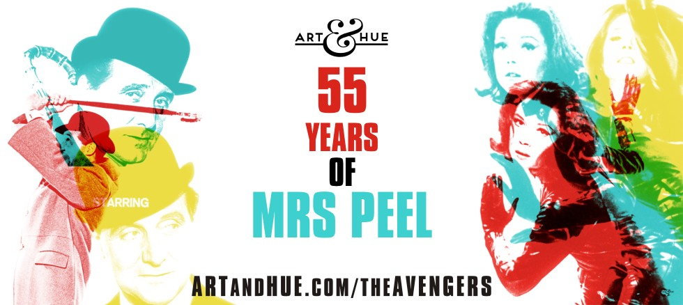 55 years of Mrs Emma Peel pop art by Art & Hue