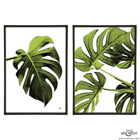 Leaf Pair of stylish pop art prints by Art & Hue