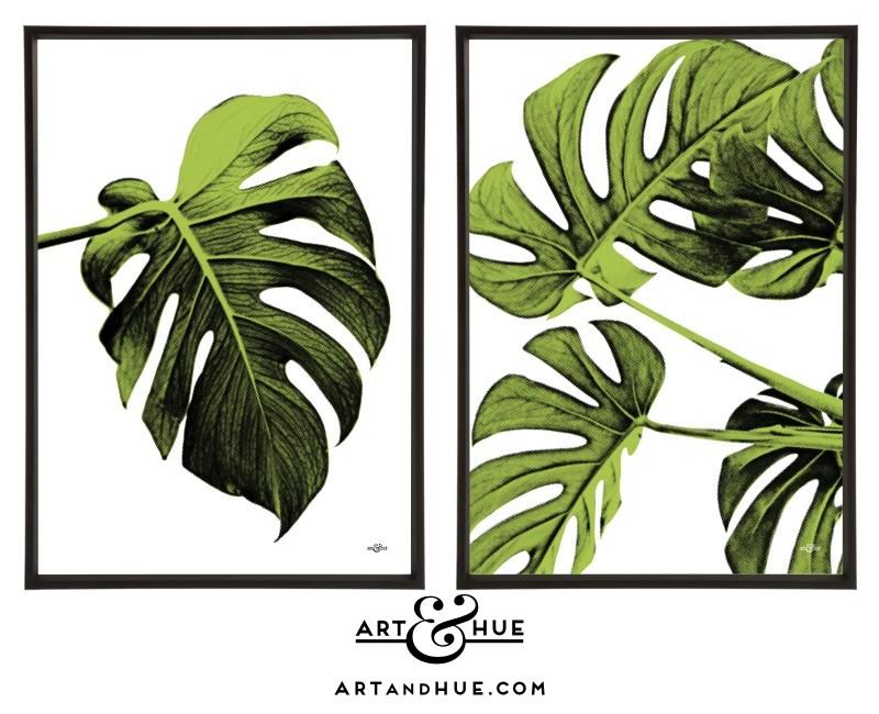 Leaf pair of pop art prints by Art & Hue