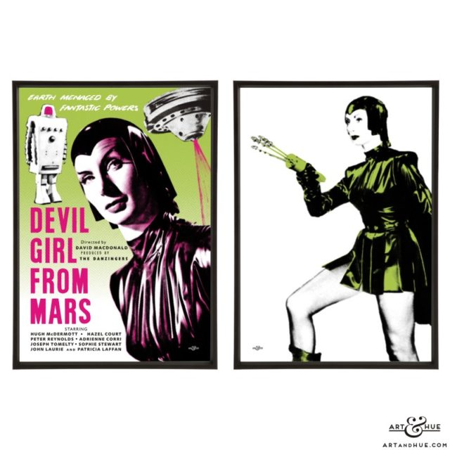 Devil Girl from Mars pair of stylish pop art prints by Art & Hue