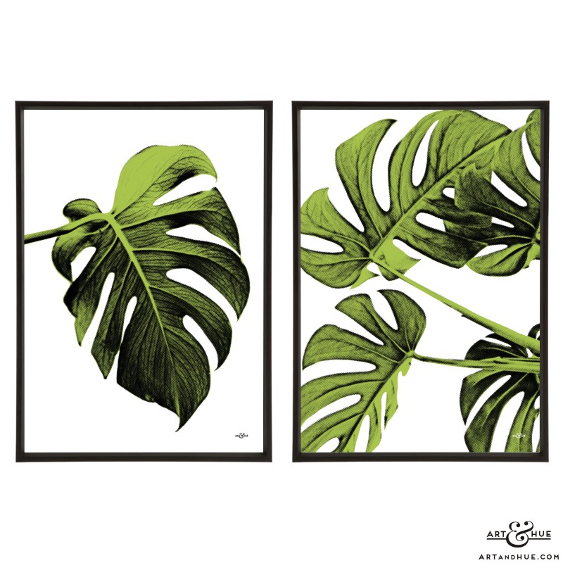 Pair of Leaf stylish pop art prints by Art & Hue