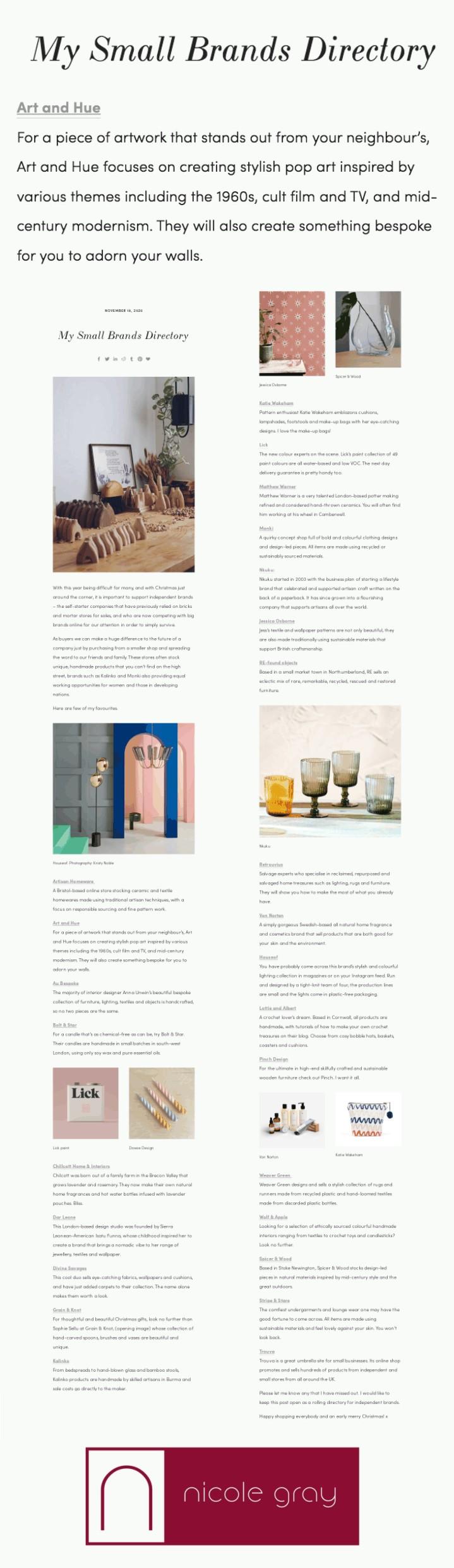 Nicole Gray Stylist Small Brands Directory