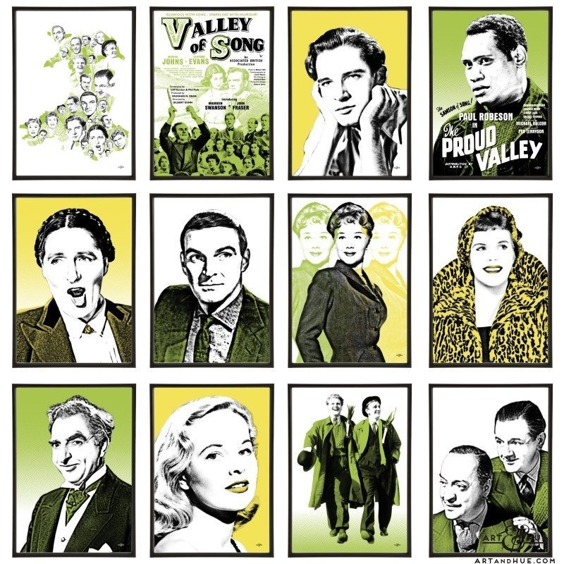 Welsh Ffilm Group of stylish pop art prints by Art & Hue