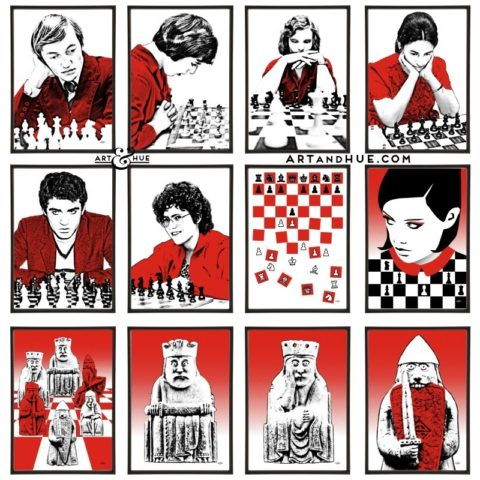 Chess group of twelve pop art prints by Art & Hue
