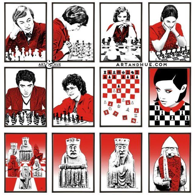 Chess group of twelve pop art prints by Art & Hue