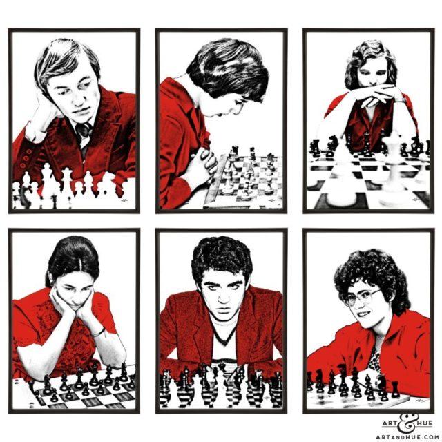 Grandmasters group of six chess pop art prints