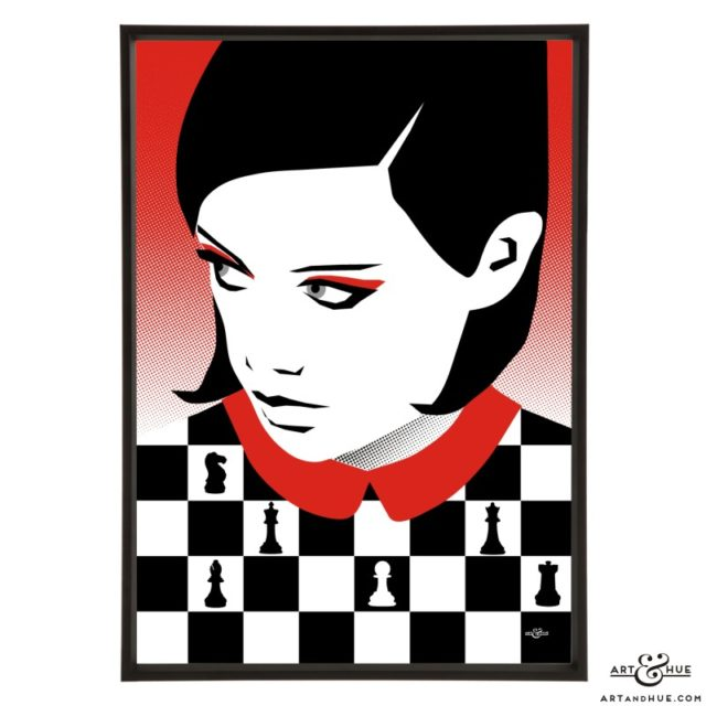 Chess Queen stylish illustrated pop art print by Art & Hue