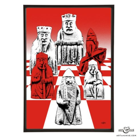 Lewis Chessmen stylish pop art print by Art & Hue