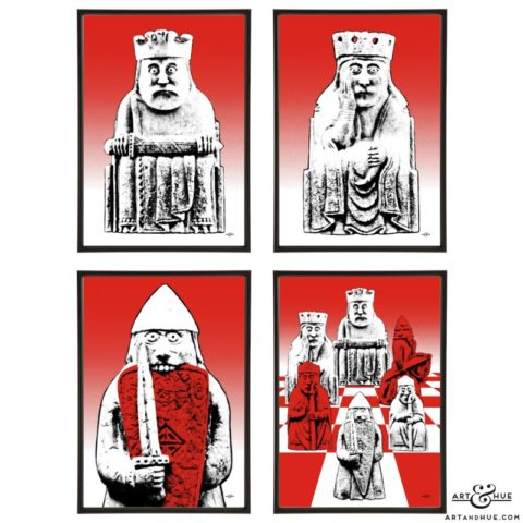 Lewis Chessmen group of stylish pop art prints by Art & Hue