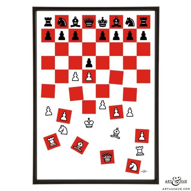 Queen's Gambit chess board stylish pop art print by Art & Hue