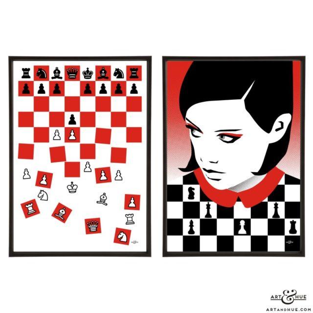 Queen's Gambit Pair of stylish pop art prints by Art & Hue