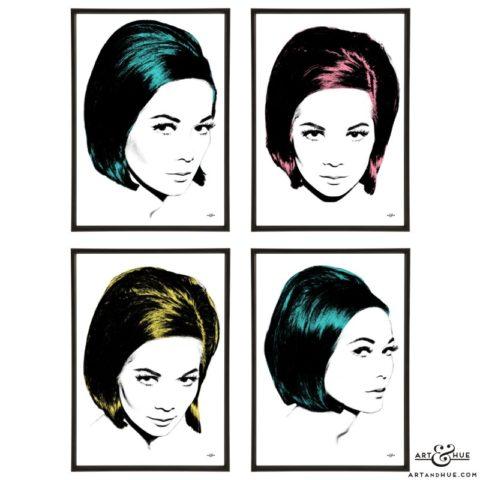 Nancy Kwan stylish pop art group by Art & Hue