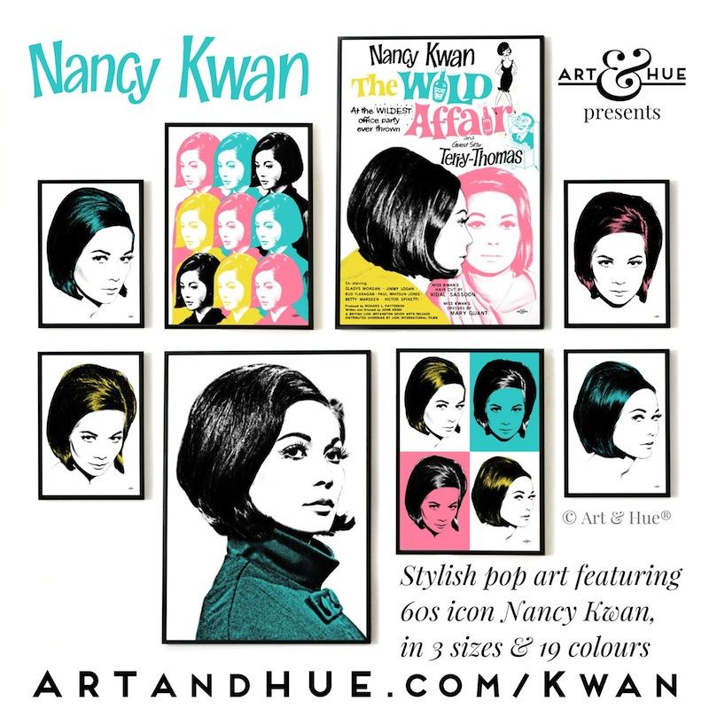 Nancy Kwan stylish pop art by Art & Hue
