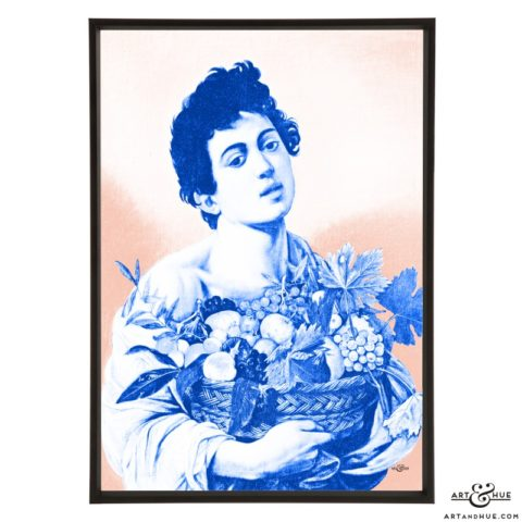 Caravaggio's Boy with Basket of Fruit stylish pop art by Art & Hue