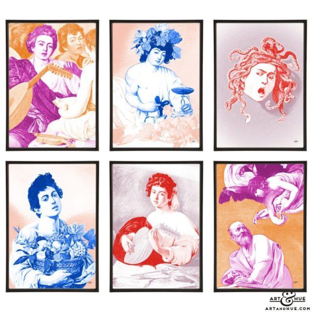 Caravaggio group of stylish pop art prints by Art & Hue