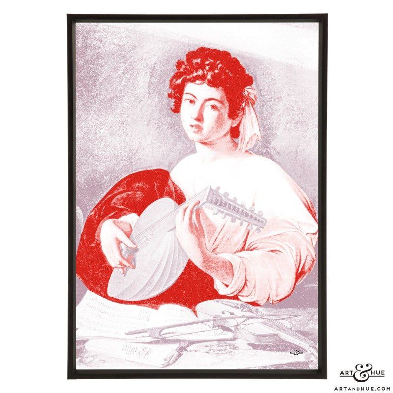 Caravaggio's The Lute Player stylish pop art print by Art & Hue