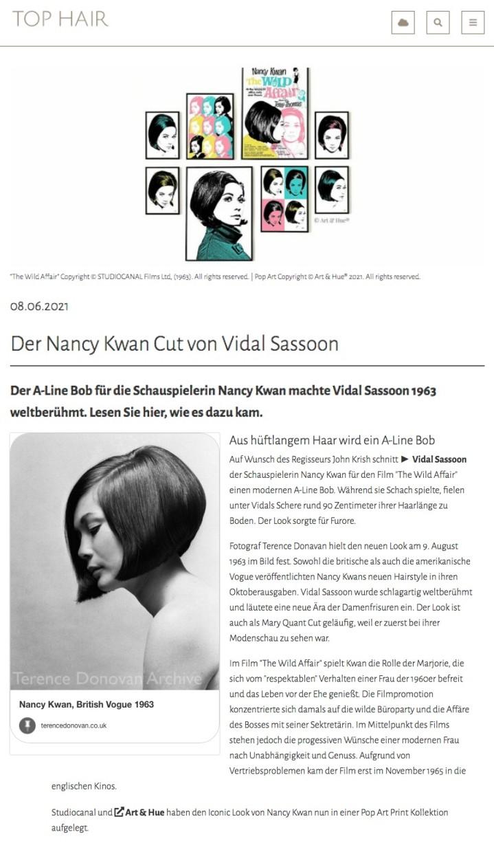 Nancy Kwan pop art at Top Hair
