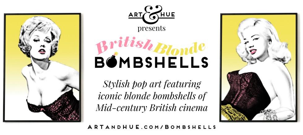 British Blonde Bombshells stylish pop art by Art & Hue