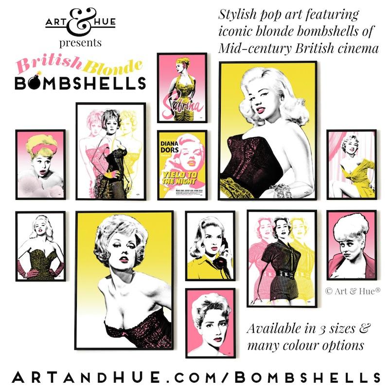 Art & Hue presents British Blonde Bombshells stylish pop art prints