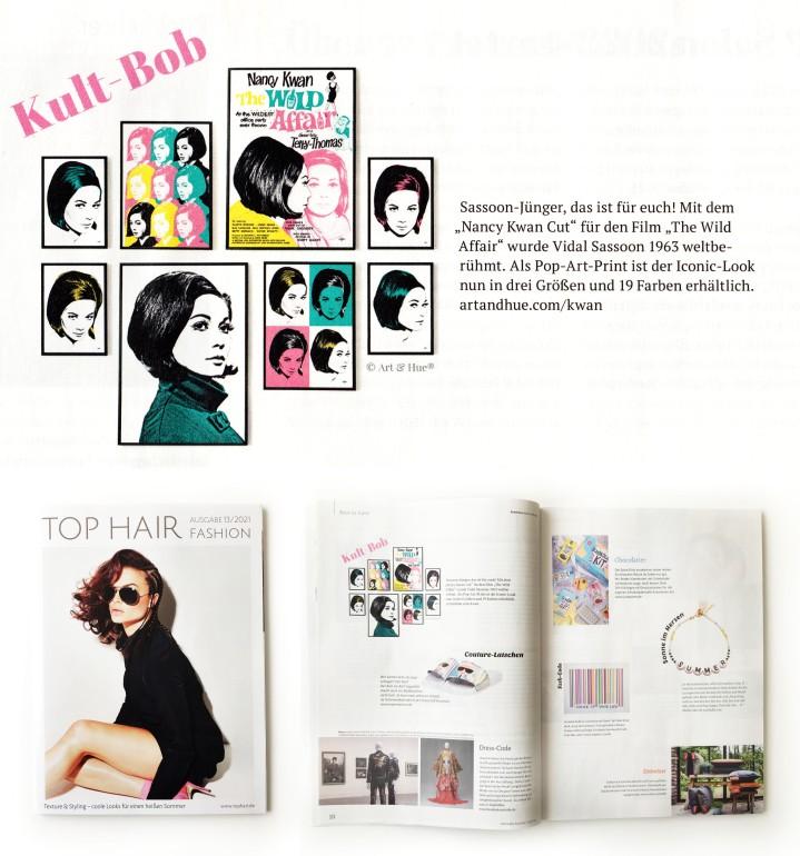 Nancy Kwan pop art in Top Hair Magazine