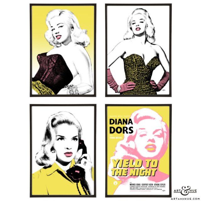 Diana Dors group of stylish pop art prints by Art & Hue