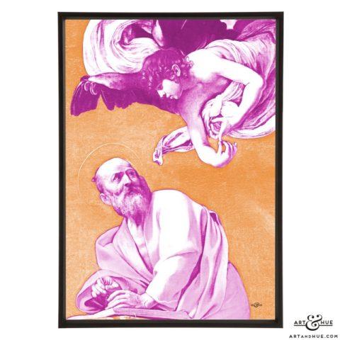 Caravaggio's Inspiration of Saint Matthew stylish pop art print by Art & Hue