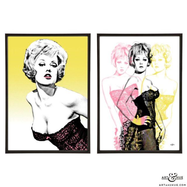 Margaret Nolan pair of stylish pop art prints by Art & Hue
