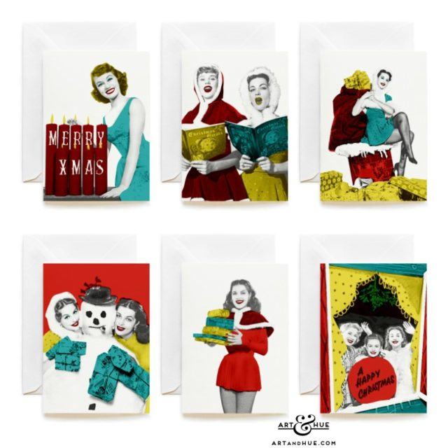 Group of 6 stylish Christmas Cards featuring studio starlets
